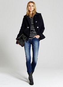 Navy Knitted Cuff Pea Coat