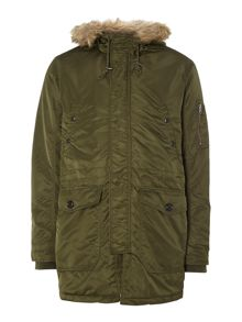 Mens parka with fur trim