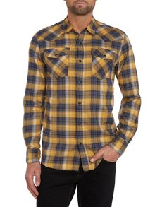 Mens long sleeve western popper check shirt