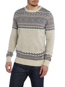 Mens long sleeve aztec fairisle jumper