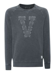 Mens Long sleeved applique pullover