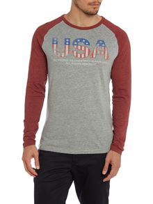 Mens USA raglan long sleeved top