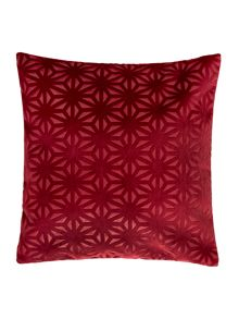 Cross velvet cushion, red