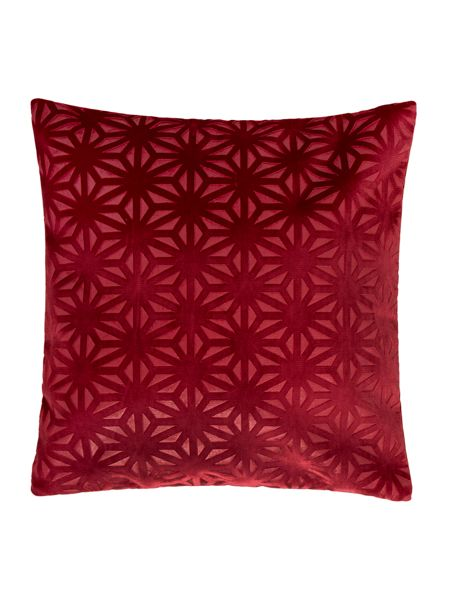 Linea Cross velvet cushion, red