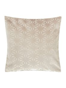 Linea Cross velvet cushion, cream