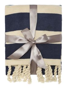 Tassle throw blue and white stripe