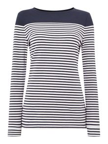 Staithes stripe and plain body panelled top