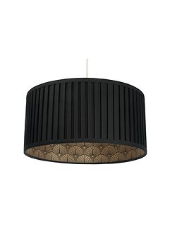 Rio black pleated shade with gold print