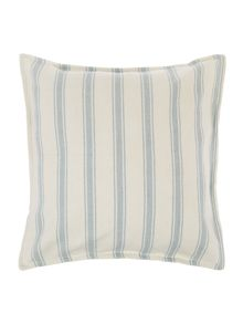 Woven stripe cushion, blue