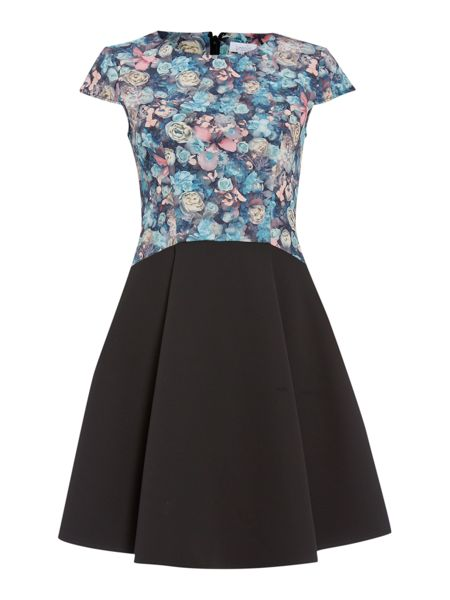 Untold Fit and flare placement print dress