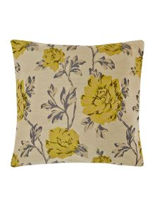 Floral jacquard cushion, lime