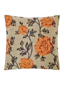 Floral jacquard cushion, rust