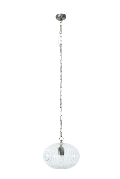 Linea Pippa ribbed oval clear glass pendant