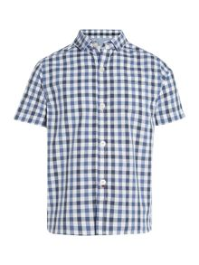 Boys gingham check short sleeve shirt