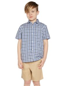 Howick Junior Boys gingham check short sleeve shirt