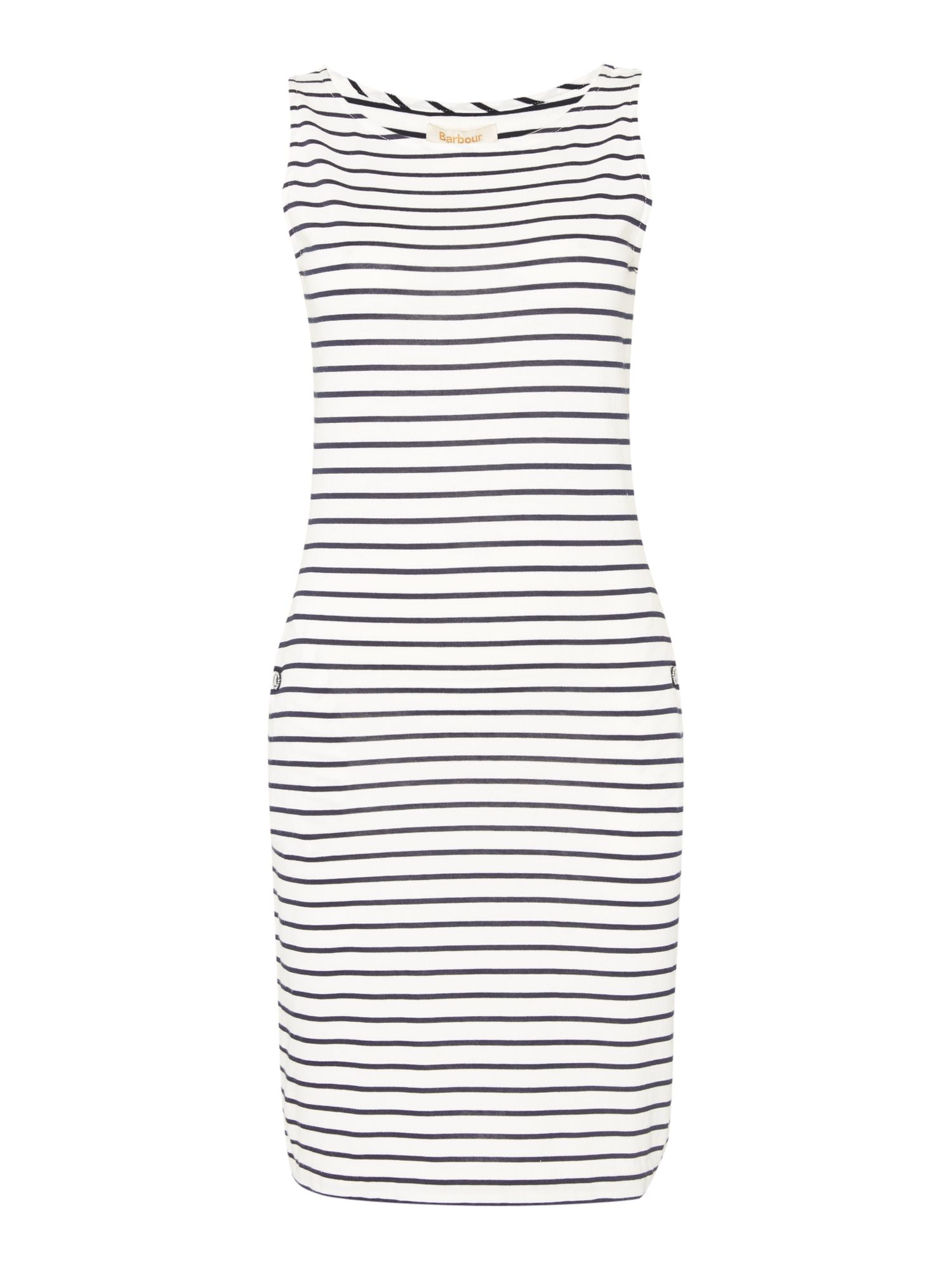Barbour Dalmore stripe jersey shift dress, White & Blue