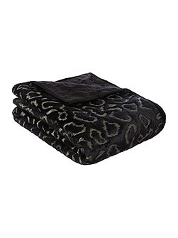 Gold embroidered leopard throw black
