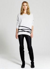 Silver Grey Blurred Stripe Knit