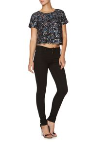 Short sleeve sequin scallop hem top