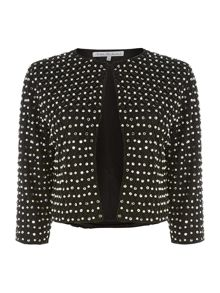 Long sleeve embellished faux pearl jacket