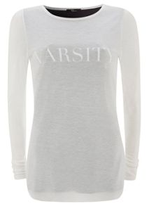 Ivory Varsity Long Sleeve T-shirt