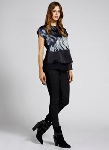 Harlow Print Silk Layered Top