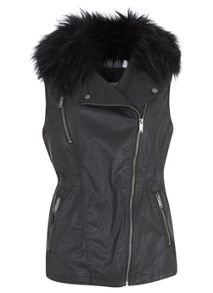 Black Waxed Faux Fur Gilet