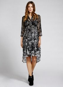 Nikki Print Shirt Flared Dress