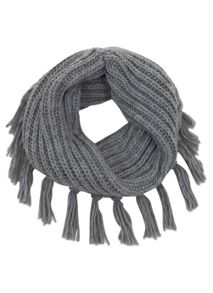 Silver Grey Tassel Snood Scarf