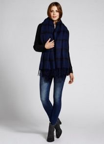 Navy Check Fringed Blanket Scarf
