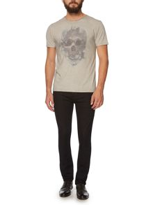 Skull and feather graphic t-shirt