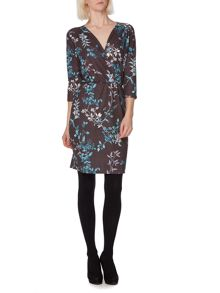Winter bird print wrap dress