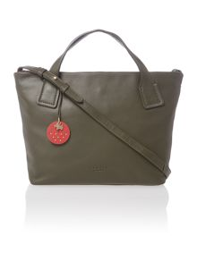 Battersea medium green ziptop tote leather bag