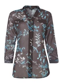 Winter bird print shirt