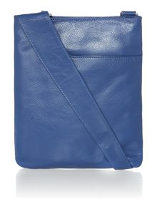Pocketbag medium blue crossbody leather bag