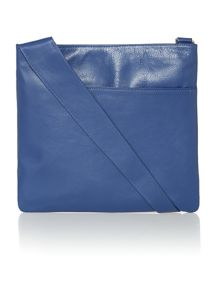 Pocketbag large blue crossbody leather bag