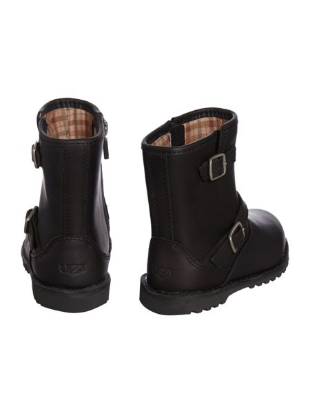 UGG Kids leather boot with metal buckle and zip