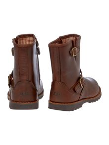 Kids leather boot with metal buckle and zip