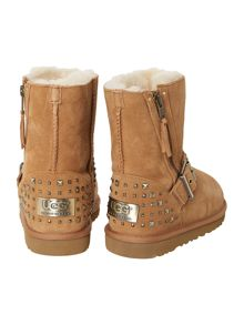 Kids short leather boot with studded stars