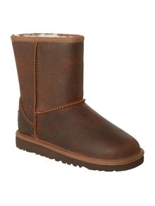 Kids short leather boot