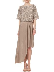 Hammered satin asymmetric maxi skirt