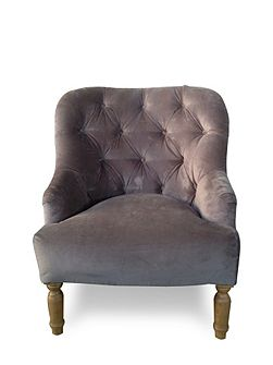 Shabby Chic Everly grey velvet occasional chair