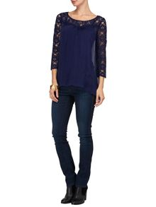 Avril silk and lace blouse