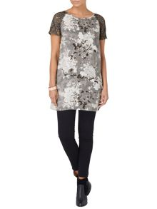 Tamia lace sleeve printed tunic