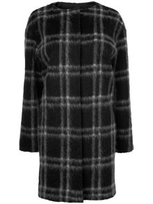Doris check collarless coat
