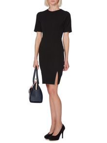 Textured panel bodycon dress