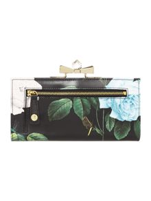 Black floral print crystal popper flapover purse