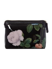 Black small floral print cosmetics bag