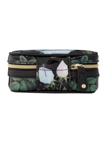 Black floral print jewellery case