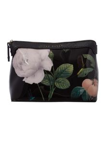 Black large floral print cosmetics bag
